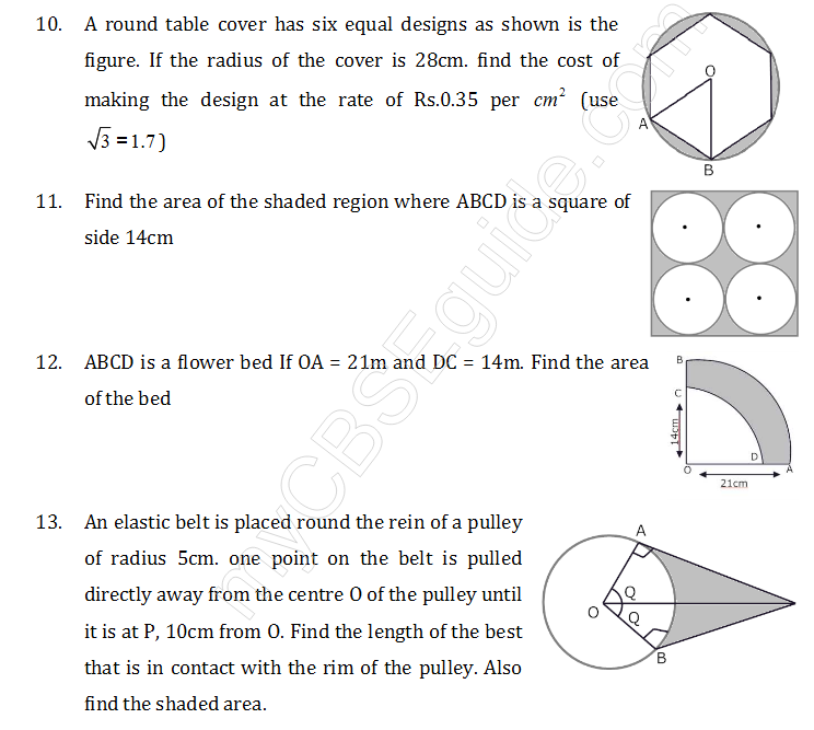 Study notes for Delhi Public school Area Related to Circles Class – Find the Area of the Shaded Region Worksheet