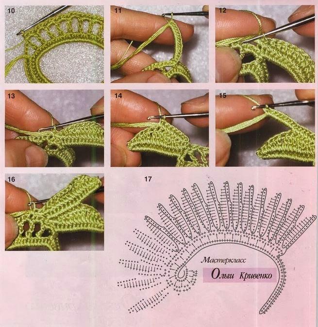 Cómo tejer crochet irlandés - muestra de hojas paso a paso | Crochet ...