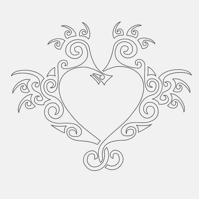 Love seahorse tribal tattoo stencil
