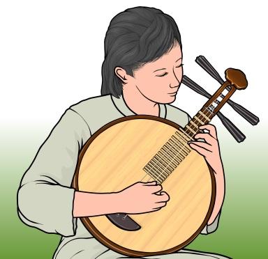 月琴(Yueqin ユエチン げっきん)を演奏している女性