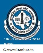 Rajasthan Board 10th Time Table