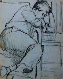Untitled (John reading) Pauline Boty sketch, 1955