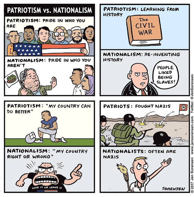 Title:  Patriotism v. Nationalism.  Various images.  Text:  Patriotism:  Pride in who you are.  Nationalism:  Pride in who you aren't.  Patr: