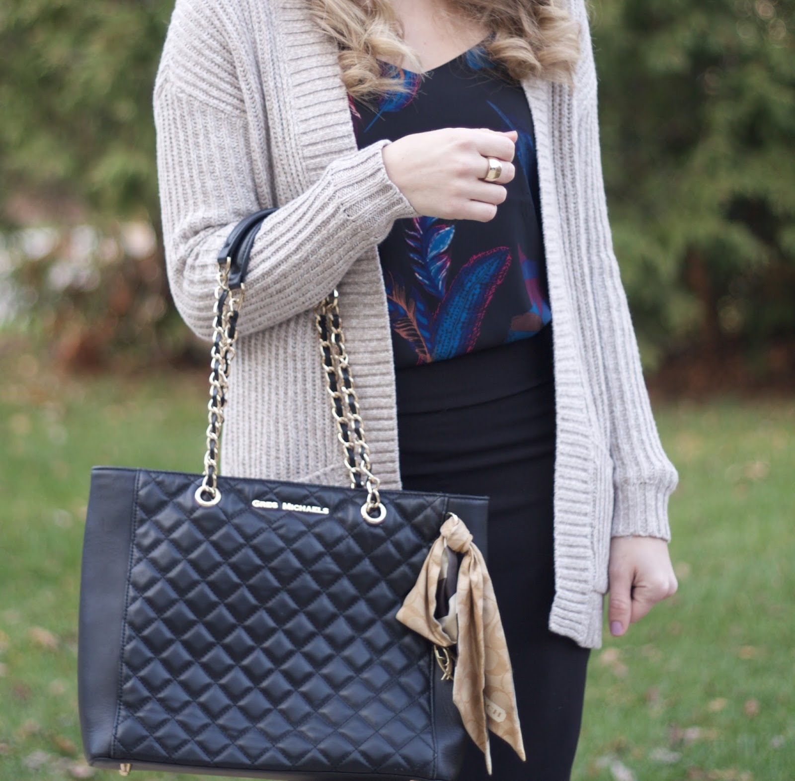feather print barcelona cami, beige open cardigan, black rita and phil skirt, greg michaels tote