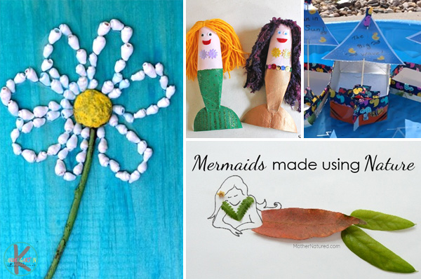 flowers, mermaids, fish, boats, and more fun july crafts for kids
