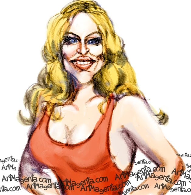 Pamela Anderson caricature cartoon. Portrait drawing by caricaturist Artmagenta