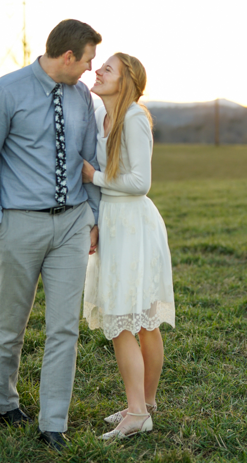 Couple love all white outfit formal pose