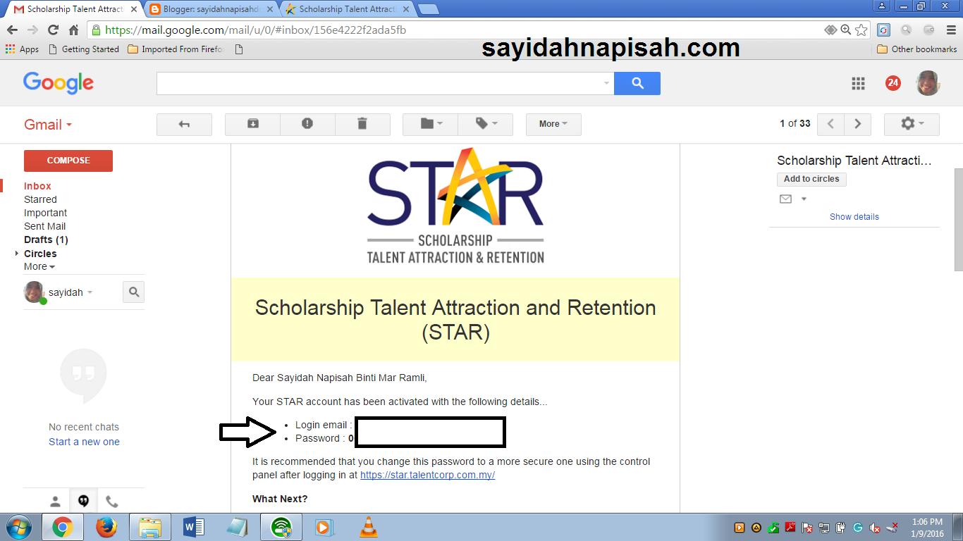 done aktifkan akaun STAR!