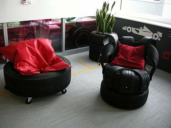 Desain sofa dari ban bekas