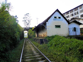 St Claire tea plantation and railway halt, Sri Lanka