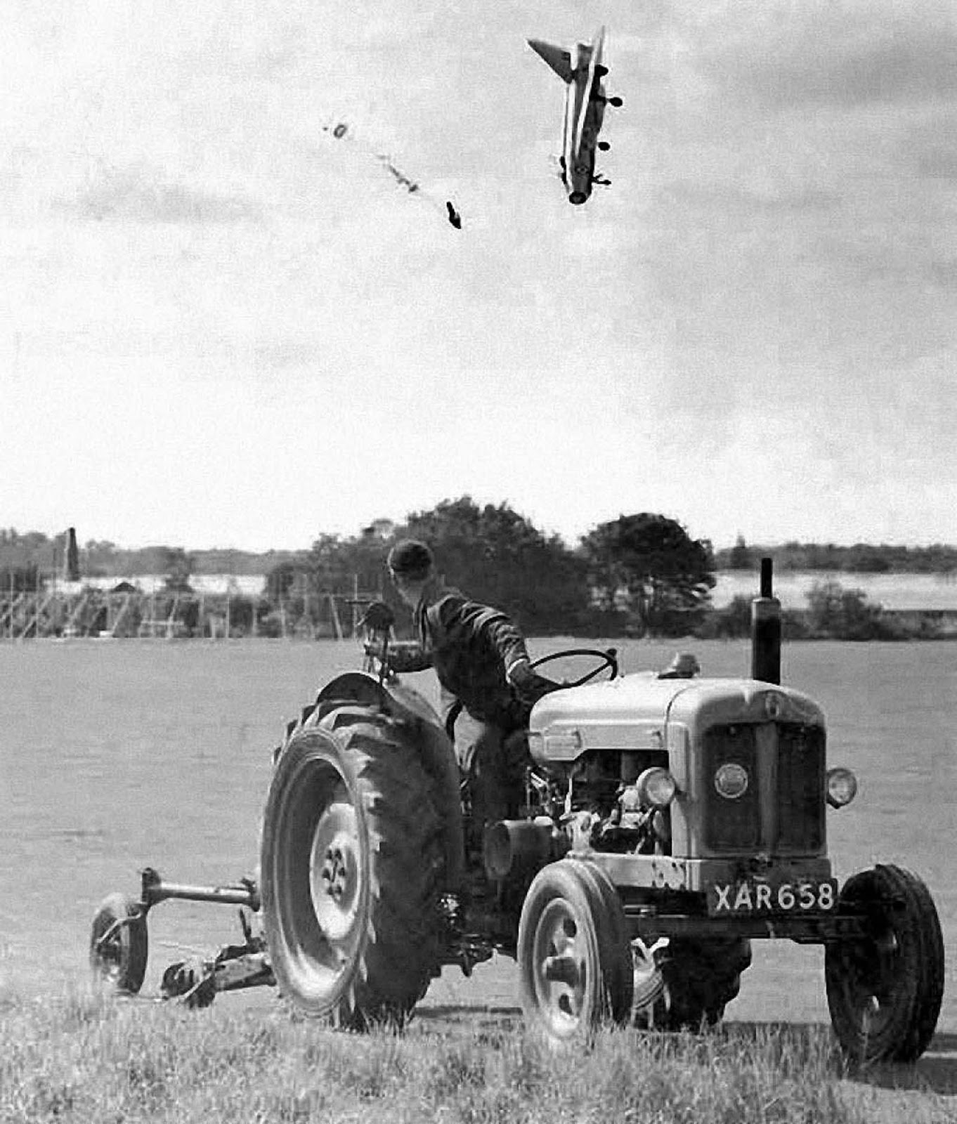 Test pilot George Aird ejected from his English Electric Lightning F1 aircraft at a very low altitude in Hatfield, Hertfordshire. September 13, 1962