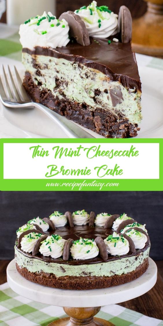 Thin Mint Cheesecake Brownie Cake