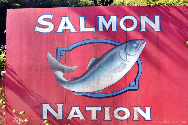 Salmon Nation sign, Newport, Oregon