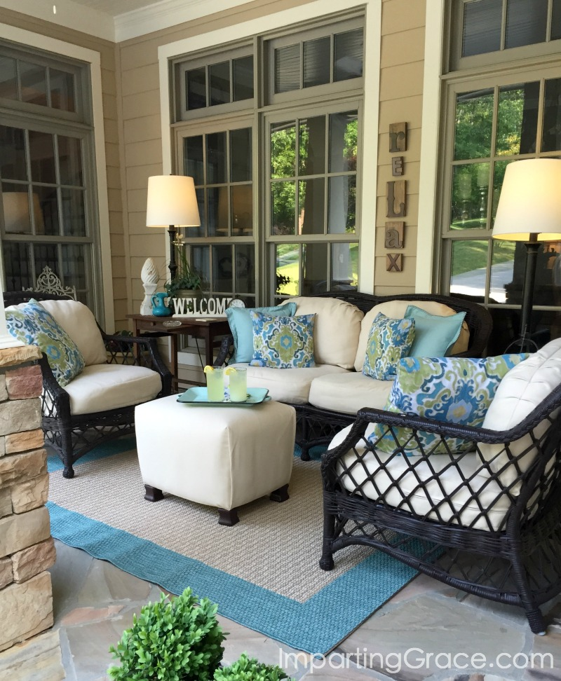 Good Porch furniture covered in Sunbrella fabric