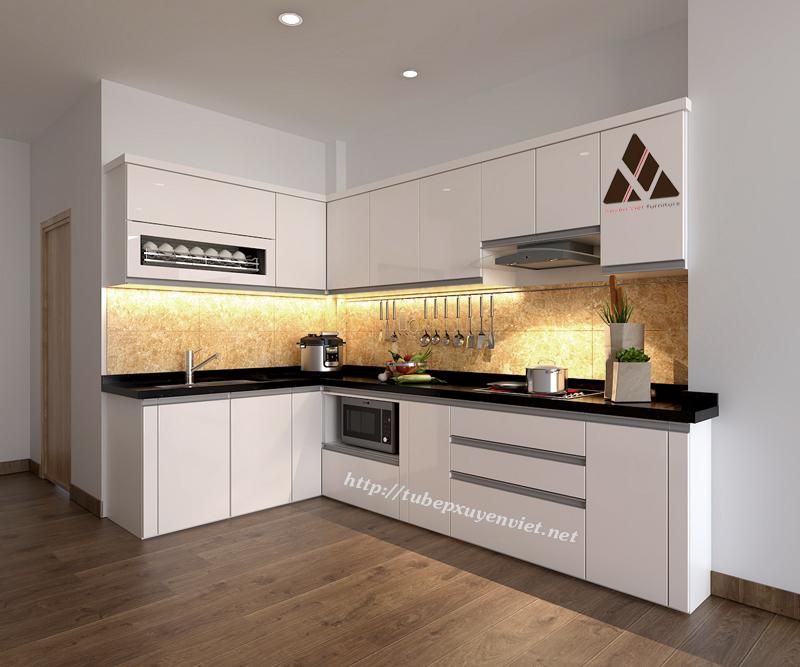 Mẫu tủ bếp đẹp chữ L thông minh màu trắng kem