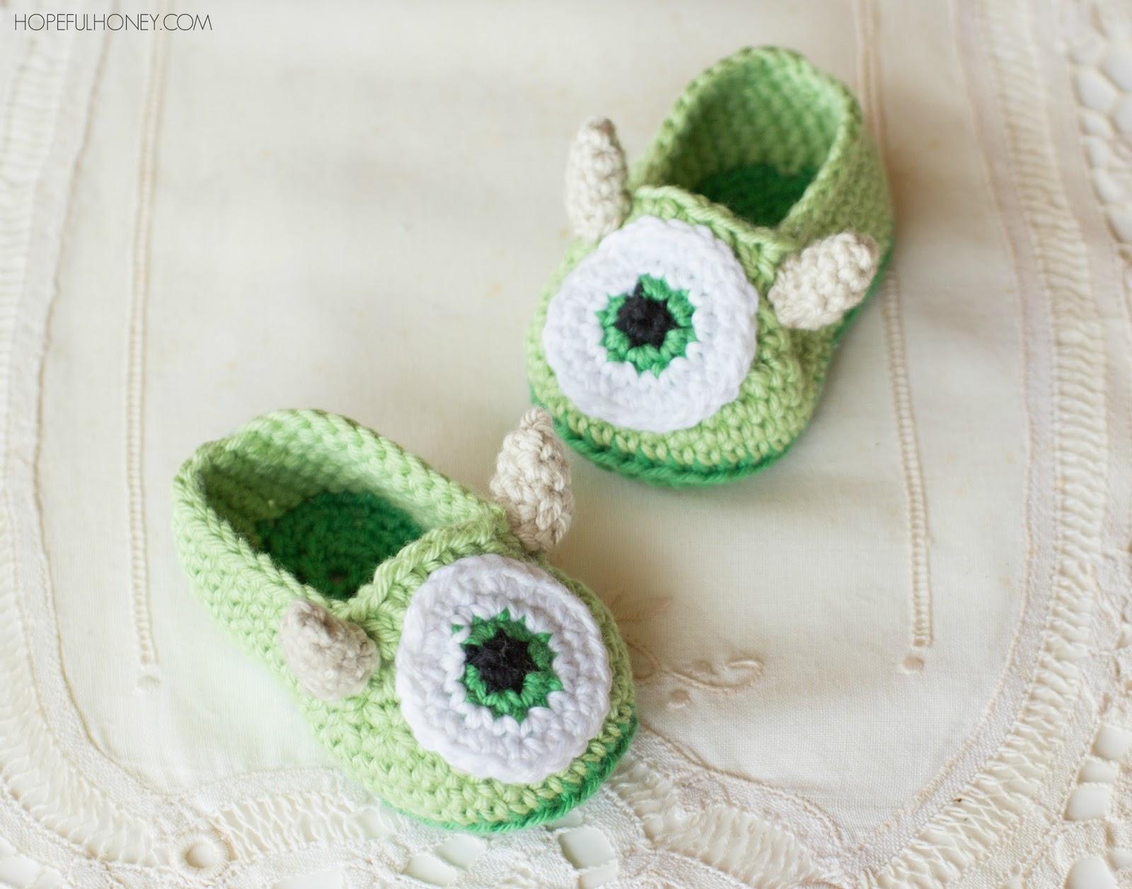Baby Booties Crochet Pattern Dk Wool : Hopeful Honey Craft, Crochet, Create: Friendly Monster ...