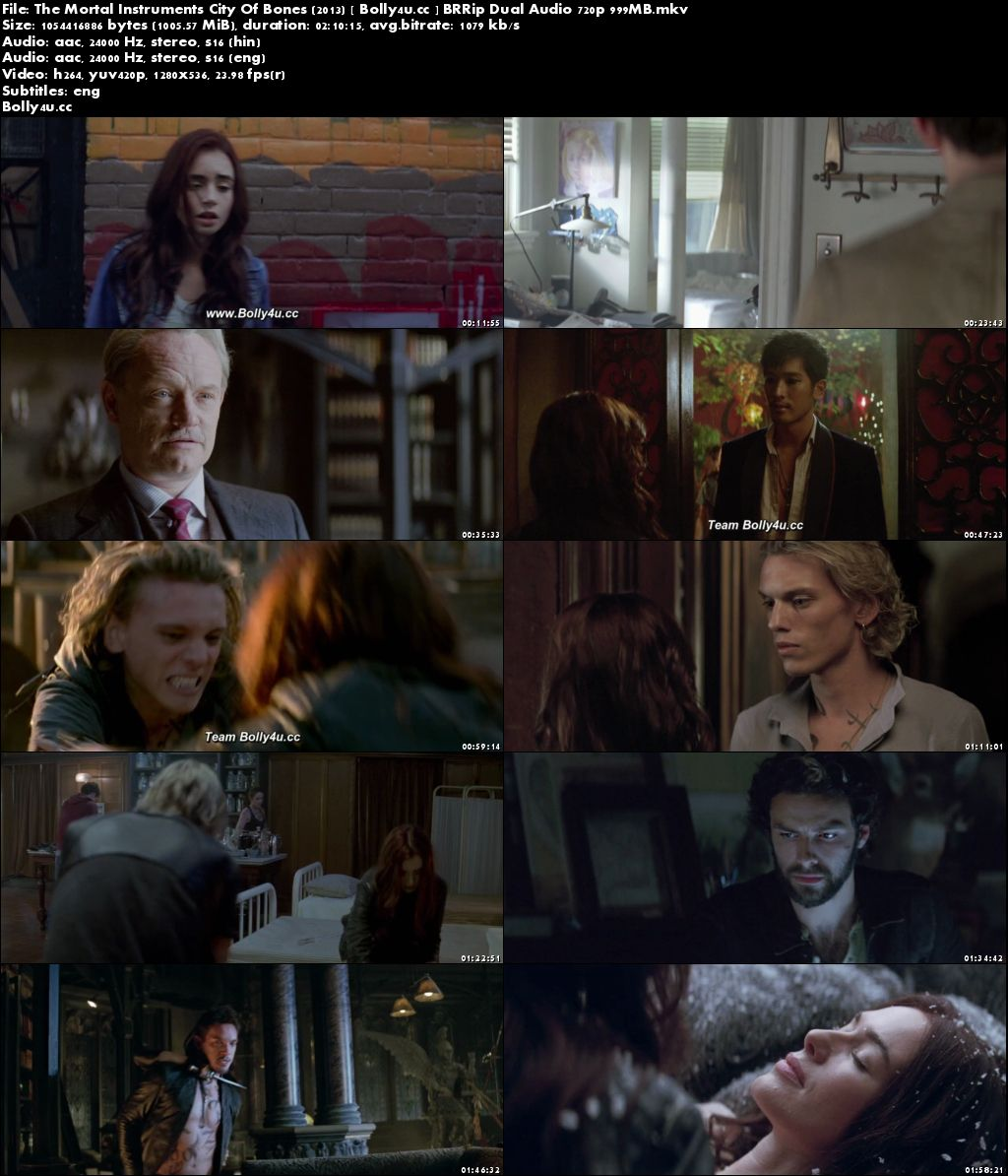 The Mortal Instruments City Of Bones 2013 BRRip 400MB Hindi Dual Audio 480p Download