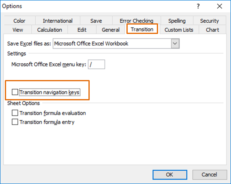 Cara setting Transition Navigation Keys Excel 2003