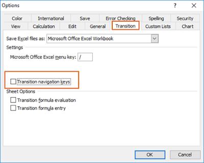 Cara setting Transition Navigation Keys Excel 2003