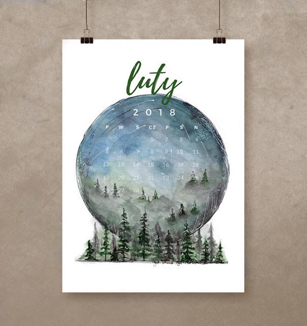Kalendarz na luty 2018 do pobrania i wydrukowania za darmo, kalendarz dla kochających naturę, malowany ręcznie akwarelami - tylko na blogu www.any-blog.pl