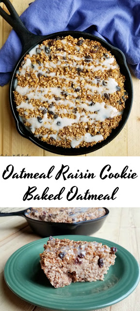 This baked oatmeal is hearty, delicious and tastes like a giant soft oatmeal raisin cookie.  It is a perfectly cozy breakfast for a cool morning.