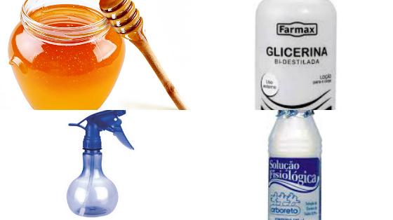 spray de brilho com mel e glicerina