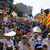 Tens of thousands of people protesting in Barcelona backs Catalan pro-independence figures