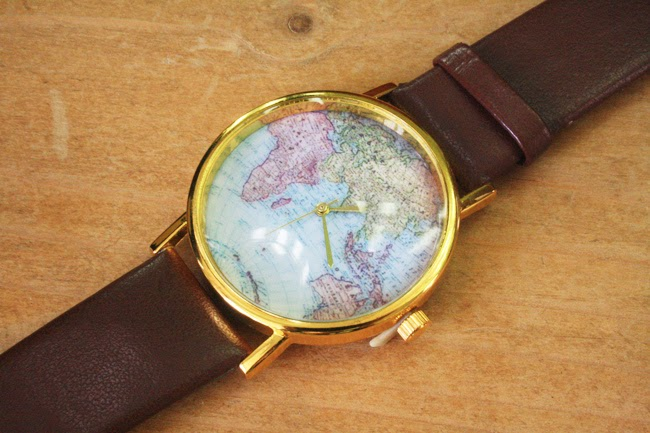 Brown Map Print Watch