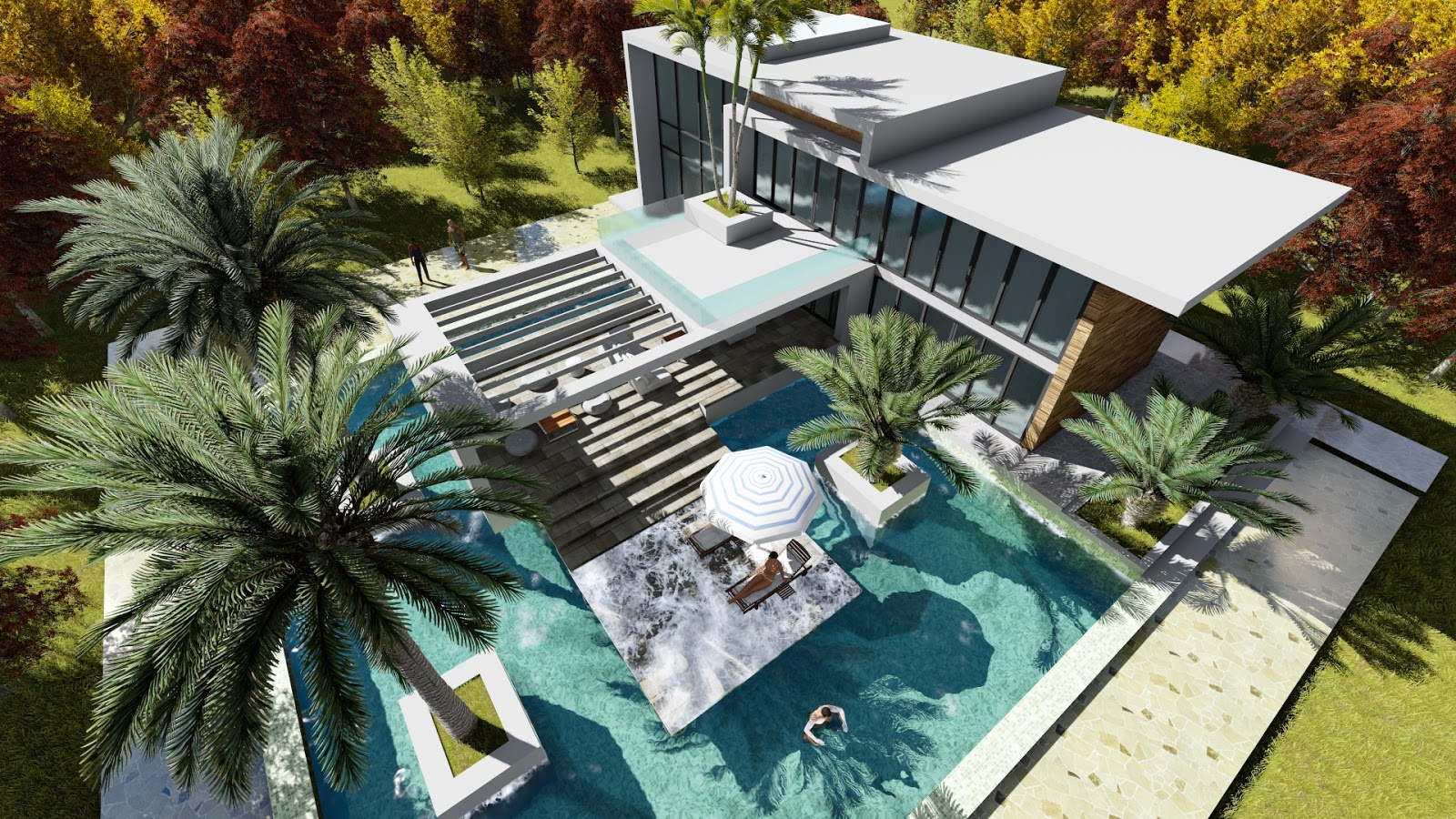 Sketchup modeling modern vila design 13 lumion render part1 sam architect - Modern vila design ...