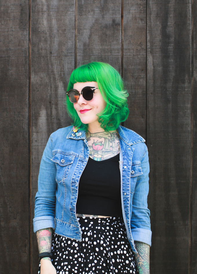 cleveland blogger, fashion blog, what i wore, jean jacket, green hair