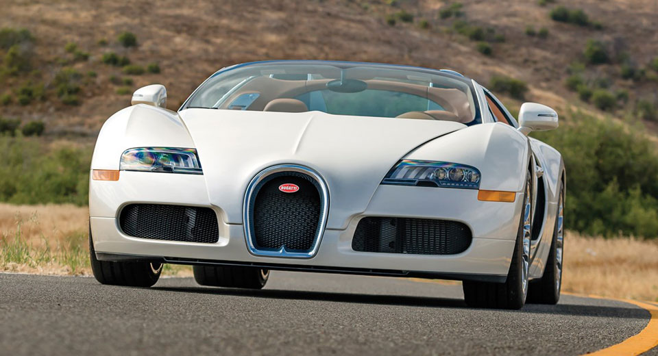 Sleek All-White Bugatti Veyron Grand Sport En Route To Auction