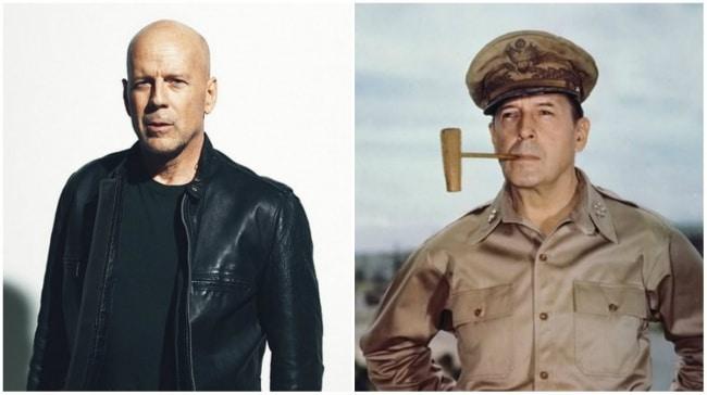 Bruce Willis e um general da Segunda Guerra Mundial, Douglas MacArthur