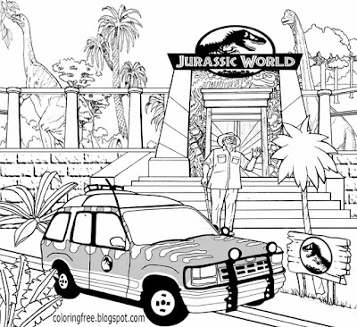 Prehistoric coloring book pages big Dino theme park Jurassic World drawing realistic dinosaur museum