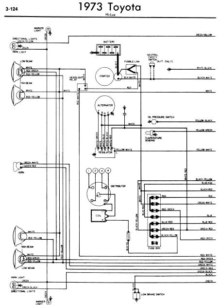 repairmanuals: Toyota Hilux 1973 Wiring Diagrams