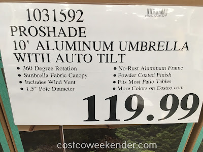 Deal for the ProShade 10ft Aluminum Umbrella with Auto Tilt at Costco