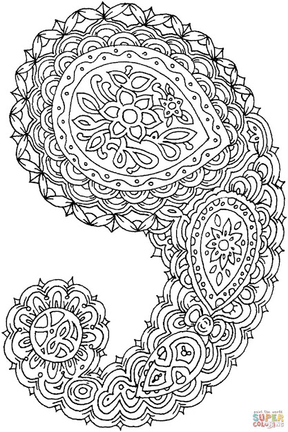Paisley Design Coloring Pages For Adults  Click The Paisley Coloring Page  To View Printable Version