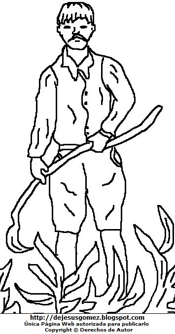 Dibujo del Campesino arando la tierra para colorear, pintar e imprimir. Imagen del campesino de Jesus Gómez