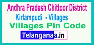 East Godavari District Kirlampudi  Mandal and Villages Pin Codes in Andhra Pradesh State