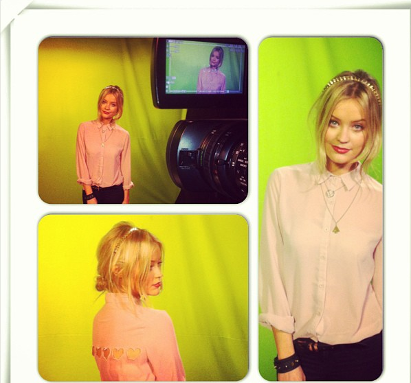 Laura Whitmore, Boohoo, Pale Pink, Nude, Button Up, Collar, Laser Detail, Heart Detail, Cut Out Detail, MTV