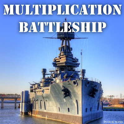 Multiplication Battleship for Math Practice from In Our Pond.  Multiplication facts from 0 to 144 and 5 battleships per player.  Print and play with ease.  Great for a classroom.