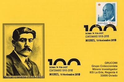Matasellos dedicado en 2010, en Mieres, al centenario del SOMA