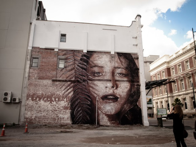 New Street Art Mural By Australian Artist RONE on the streets of Christchurch, New Zealand 1