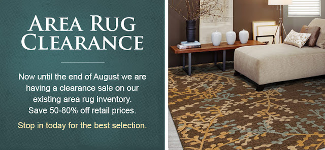 Area rug clearance sale at Kermans Flooring in Indianapolis