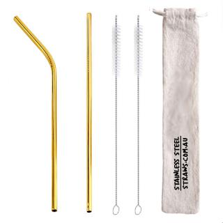 Metal Straws Gold Au