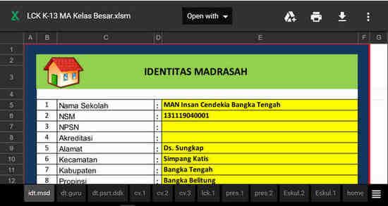 Aplikasi Raport Madrasah Aliyah (MA) Kurikulum 2013 Revisi 2017