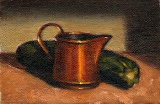 Oil painting of a small copper jug beside a green zucchini
