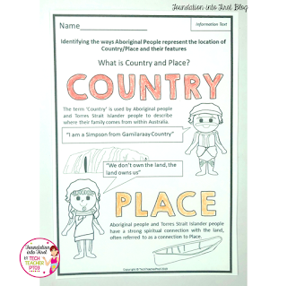 Teaching Aboriginal and Torres Strait Islander understanding of Country and Place. Teaching tips for early year primary teachers or Year 1 Geography aligned to the Australian curriculum.