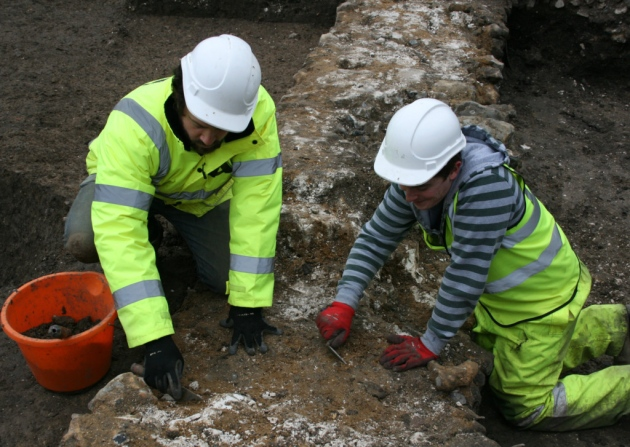 Archaeological excavation in Canterbury uncovers 14th century abbey precinct wall