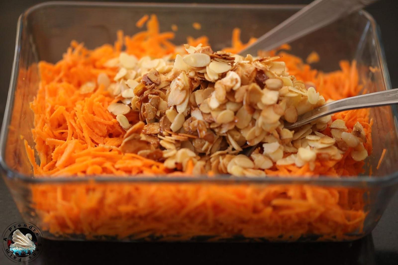 Salade de carottes aux amandes caramélisées