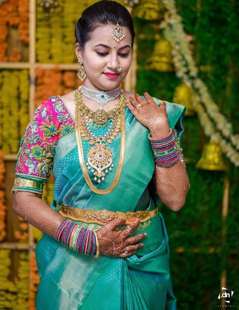 Bride in Mango and Kasu Mala